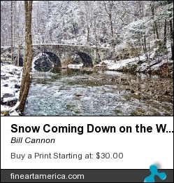 Snow Coming Down On The Wissahickon Creek by Bill Cannon - Photograph - Photo