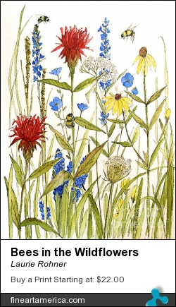 Bees In The Wildflowers by Laurie Rohner - Painting - Watercolor On Paper
