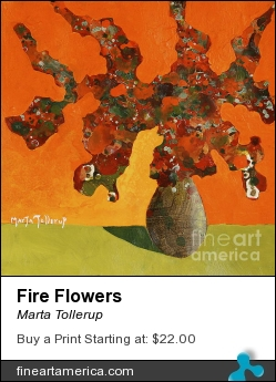 Fire Flowers by Marta Tollerup - Painting - Acrylic On 300# Watercolor Paper