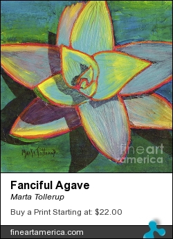 Fanciful Agave by Marta Tollerup - Painting - Acrylic On 300# Watercolor Paper