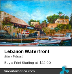 Lebanon Waterfront by Mary Wassil - Painting - Oil On Canvas