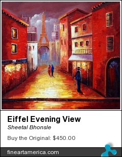 Eiffel Evening View by Sheetal Bhonsle - Painting - Acrylic On Canvas