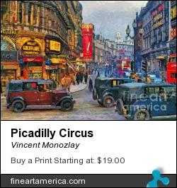 Picadilly Circus by Vincent Monozlay - Painting