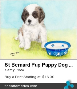 St Bernard Pup Puppy Dog Food Bowl Animal Art by Cathy Peek - Painting - Acrylic Ink Watercolor