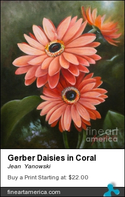 Gerber Daisies In Coral by Jean  Yanowski - Painting - Oil On Canvas