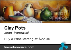 Clay Pots by Jean  Yanowski - Painting - Oil On Canvas