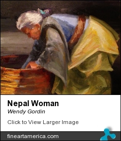 Nepal Woman by Wendy Gordin - Painting - Oil On Canvas