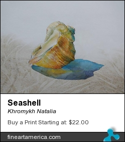 Seashell by Khromykh Natalia - Painting - Watercolor,paper,ink