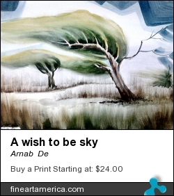 A Wish To Be Sky by Arnab  De - Painting - Watercolor