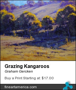 Grazing Kangaroos by Graham Gercken - Painting - Oil On Canvas
