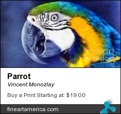 Parrot by Vincent Monozlay - Painting