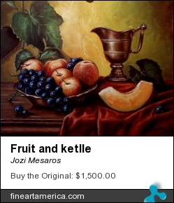 Fruit And Ketlle by Jozi Mesaros - Painting - Oil On Canvas