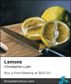Lemons by Christopher Lyter - Painting - Oil On Canvas