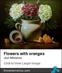 Flowers With Oranges by Jozi Mesaros - Painting