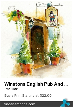 Winstons English Pub And Grill by Pat Katz - Painting - Watercolor & Ink