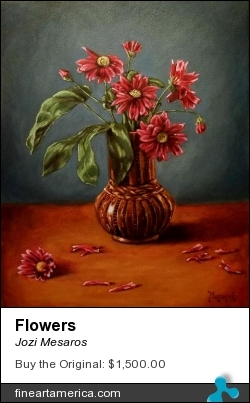 Flowers by Jozi Mesaros - Painting - Oil On Canvas
