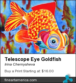 Telescope Eye Goldfish by Irina Chernysheva - Mixed Media - Mixed Media