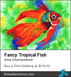 Fancy Tropical Fish by Irina Chernysheva - Mixed Media - Mixed Media