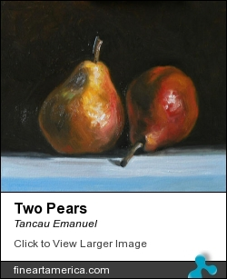 Two Pears by Tancau Emanuel - Painting - Oil