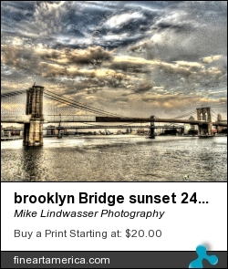brooklyn Bridge sunset 24x30 by Mike Lindwasser Photography - Photograph - Photograph