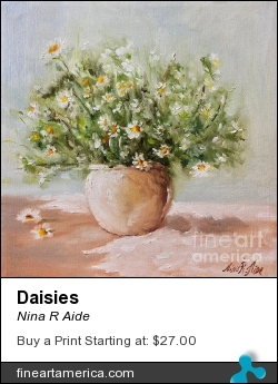 Daisies by Nina R Aide - Painting - Oil On Canvas
