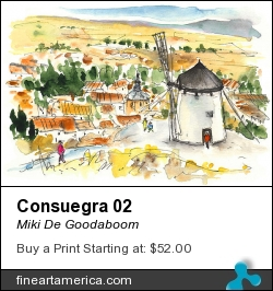 Consuegra 02 by Miki De Goodaboom - Painting - Watercolour And Ink