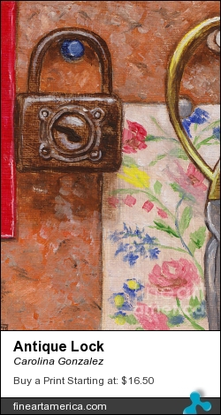 Antique Lock by Carolina Gonzalez - Painting - Oil On Canvas