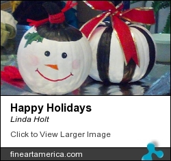 Happy Holidays by Linda Holt - Painting