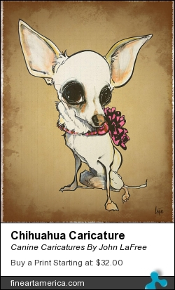 Chihuahua Caricature by Canine Caricatures By John LaFree - Drawing - Prismacolor Markers And Color Stix On Bristol Paper