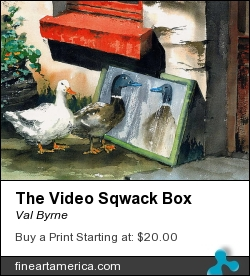 The Video Sqwack Box by Val Byrne - Painting - Watercolour