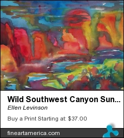 Wild Southwest Canyon Sunset by Ellen Levinson - Painting - Watercolor