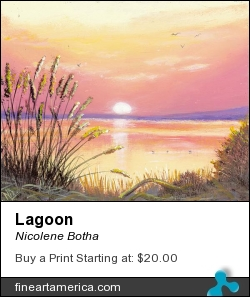 Lagoon by Nicolene Botha - Painting - Acrylics On Boxed Canvas