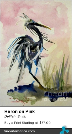 Heron On Pink by Delilah  Smith - Painting - Watercolor