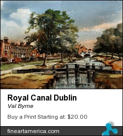 Royal Canal Dublin by Val Byrne - Painting - Watercolour