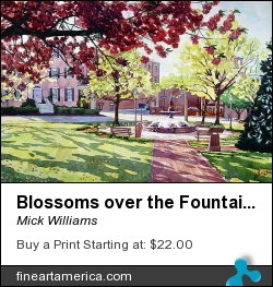 Blossoms Over The Fountain by Mick Williams - Painting - Watercolor