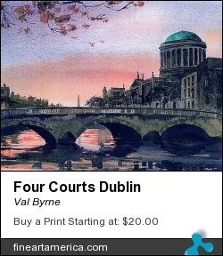 Four Courts Dublin by Val Byrne - Painting - Watercolour