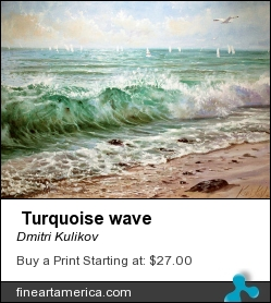 Turquoise Wave by Dmitri Kulikov - Painting - Oil On Canvas