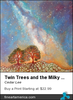 Twin Trees And The Milky Way by Cedar Lee - Painting - Oil On Wood
