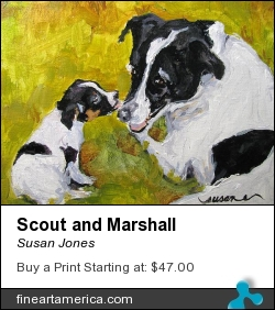 Scout And Marshall by Susan Jones - Painting - Oil On Museum Quality Panel
