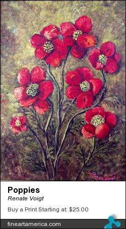 Poppies by Renate Voigt - Painting