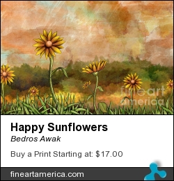 Happy Sunflowers by Bedros Awak - Digital Art - Digital Art
