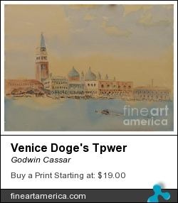 Venice Doge's Tpwer by Godwin Cassar - Painting - Watercolours