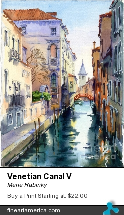 Venetian Canal V by Maria Rabinky - Painting - Watercolor