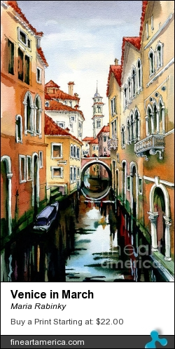 Venice In March by Maria Rabinky - Painting - Watercolor