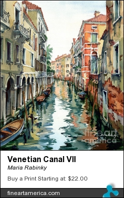 Venetian Canal Vii by Maria Rabinky - Painting - Watercolor