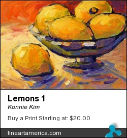 Lemons 1 by Konnie Kim - Painting - Oil On Canvas