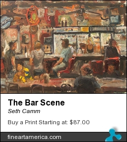 The Bar Scene by Seth Camm - Painting - Oil On Ampersand Panel