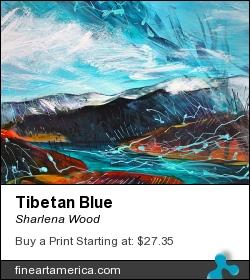 Tibetan Blue by Sharlena Wood - Painting - Acrylic On Panel