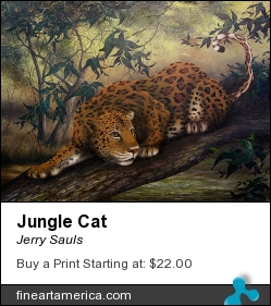 Jungle Cat by Jerry Sauls - Painting - Oil On Canvas
