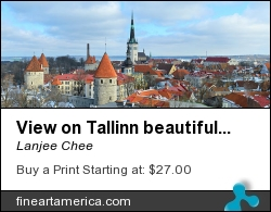 View On Tallinn Beautiful Red Tile Roofs by Lanjee Chee - Painting - View On Tallinn Beautiful Red Tile Roofs On Canvas